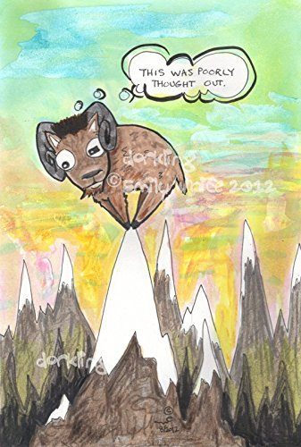 High Top Fade Silly Mountain Goat pen and ink Original Cartoon Illustration lowbrow colorful story art by zombietoes