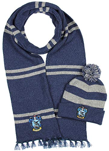 Harry Potter Hogwarts Houses Knit Ravenclaw Scarf & Pom Beanie Set -