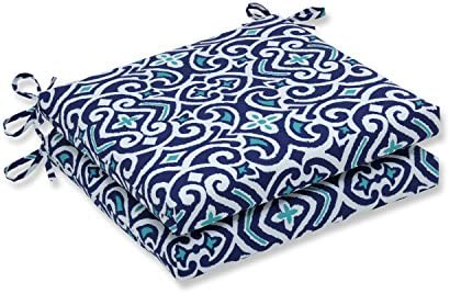 Pillow Perfect 611433 Outdoor/Indoor New Damask Marine Square Corner Seat Cushions