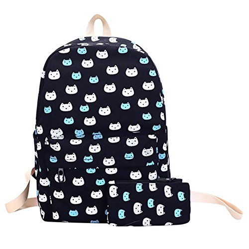 School Preppy Black Girls Floral Chic Printed Prosperveil Canvas 2pcs Backpack Bag Clutch H0qn4