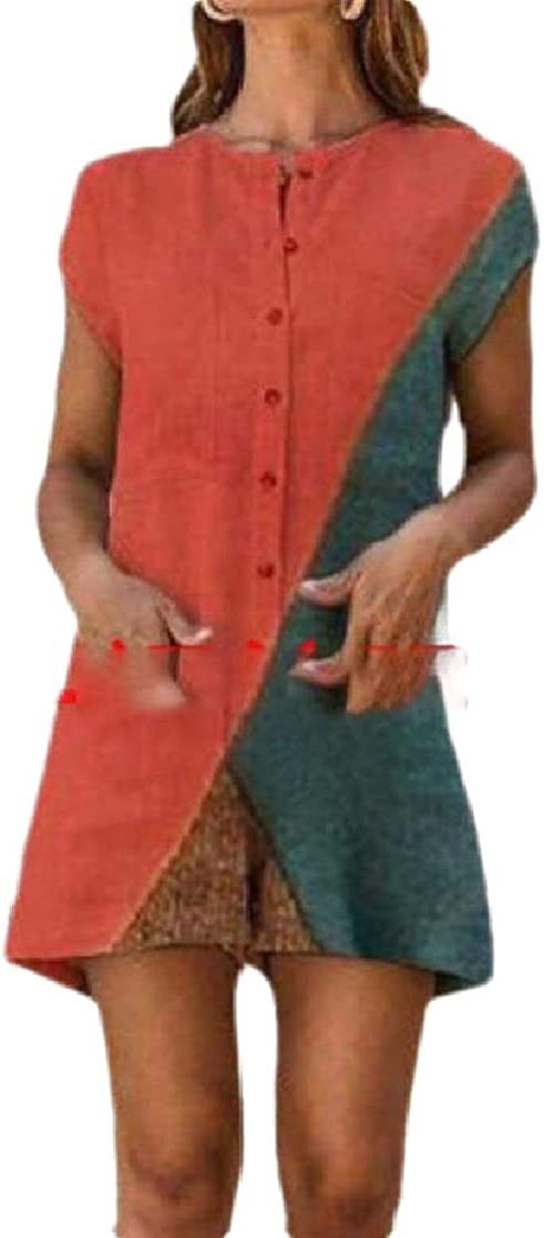 CYJ-shiba Womens Boho Short-Sleeve High Waist Wide Leg Short Rompers