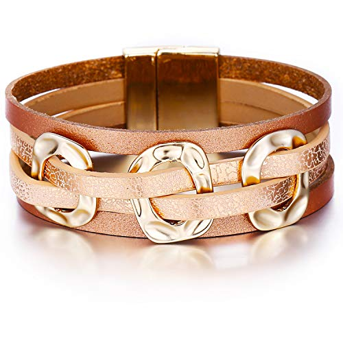 FINETOO Rose Gold Multi-Layer Leather Bracelet Metal Wrap Cuff Bobo Bangle - with Alloy Magnetic Clasp Handmade Jewelry for Women,Girl Gift