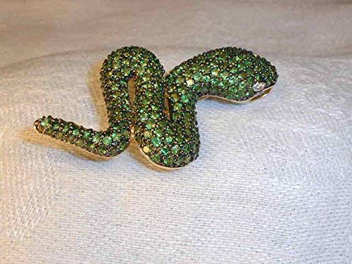 Outstanding 14K Gold Green Garnet Tsavorite Diamond Snake Brooch Pendant Pin ()