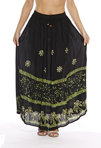 Riviera Sun 21741-BLKL-2X Skirt/Skirts for Women Black/Lime