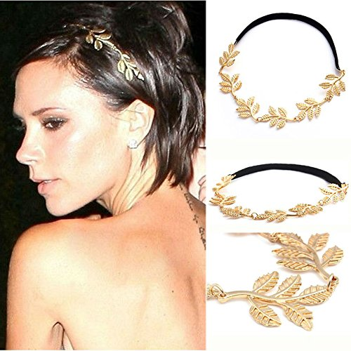 New Leaf headband head chain leaves golden elastic hair band women lady 1pcs