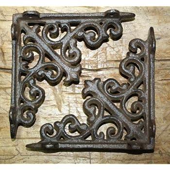 4 Cast Iron Antique Style HUGE CROSS Brackets Garden Braces Shelf Bracket HD