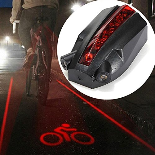 Best Bike Accessories Warn Taillight Cycling Safety 5 LED 2 Laser Beams Intelligent Bike Logo Safety Rear Tail Light Night (Quick Grid Rear Window)