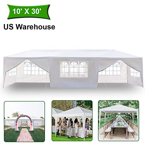MTFY Outdoor Canopy Tent, Portable Gazebo Canopy Tent for Party Wedding Commercial Waterproof, UV Protection Beach Shelter, Removable Sidewalls, Upgraded Spiral Tube (10x30ft 8 Removable sidewalls)