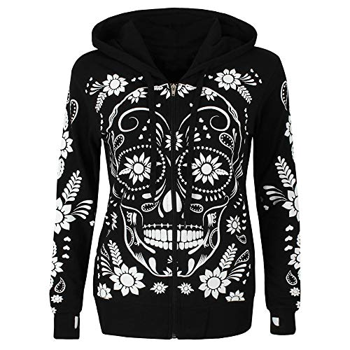 CUCUHAM Women Plus Size Long Sleeve Skull Print