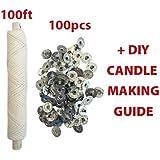 CozYours Mèche Tressé 25 plis : Bobine 30m /100 onglets porte-mèche de bougie. Bricolage de bougie, mèches de bougie pour fabrication de bougies
