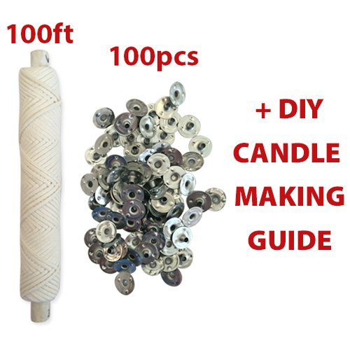 CozYours #25ply BRAIDED WICK: 100FT SPOOL/100 CANDLE WICK SUSTAINER TABS.Candle Wicks For Candle Making!Candle DIY HACKS E-BOOK INCLUDED!