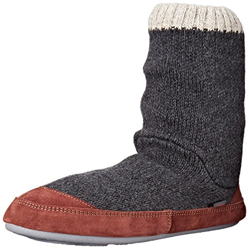 ACORN Men's Slouch Boot Slipper, Charcoal Ragg Wool, X-Large/12-13 B US
