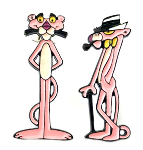 Pink Panther Earrings Enamel Post Studs Classic Movies Cartoon Logo Character Theme Premium Quality Detailed Cosplay Jewelry Gift Series