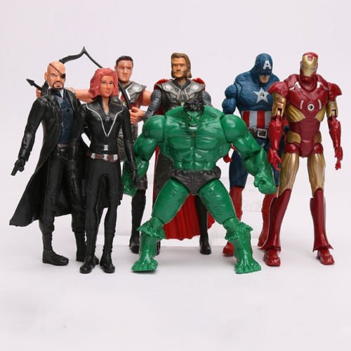 7x The Avengers Iron Man Captain America Hulk Black Widow Thor PVC Action Figure