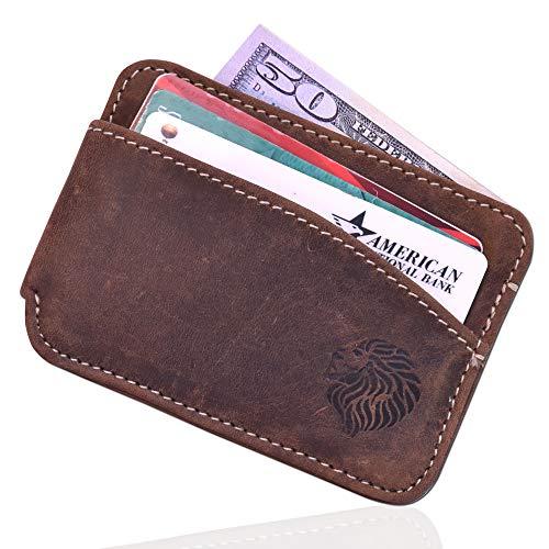 Louis Pelle Leather Men Minimalist Wallet RFID Blocking Slim Wallet ()