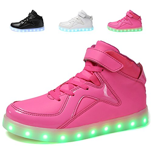 EQUICK High Top Light Up Shoes Flashing LED Sneakers with 11 Colors Modes for Boys Girls (Toddler/ Little Kids/ Big (Little Girl Walking)