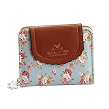 Dreambox Women's Vintage Cute Floral Zip Mini Wallet Short Design Coin Purse
