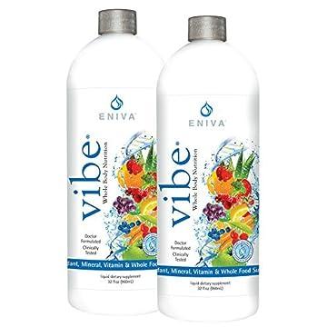 Image of Eniva Vibe Fruit Sensation Liquid Full Spectrum Daily Multi Minerals Vitamins 2 Bottle Value Pack (64 oz) Health and Household