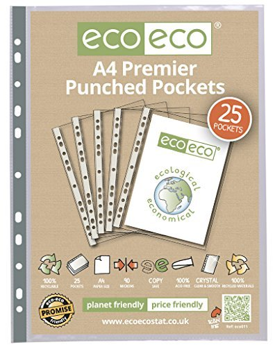eco-eco A4 100% Recycled Smooth Glass Clear Premier Punched Plastic Pockets x 25 by (Eco Punched Pocket)