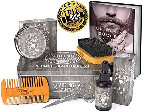Viking Revolution Beard Care Kit for Men - Ultimate Beard Grooming Kit Includes 100% Boar Men