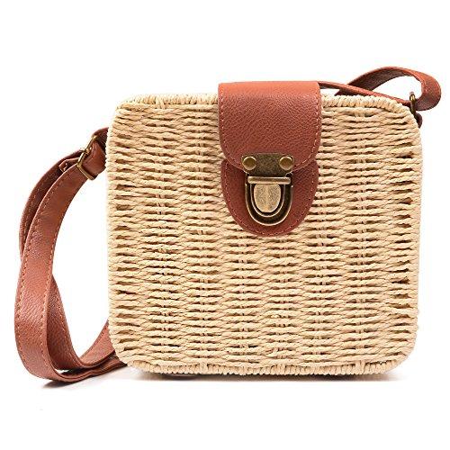 Vintage Straw Bags - KISS GOLD(TM) Ladies Vintage Straw Woven Bag Beach Handbag Crossbody Shoulder Bag, Beige