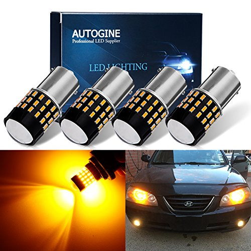 AUTOGINE 4 X Super Bright 9-30V 1156 1003 1141 7506 BA15S LED Bulbs 3014 54-EX Chipsets with Projector for Turn Signal Lights Sidemarker Lights, Amber Yellow