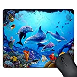 SSOIU Mouse Pad Amazing Colorful Underwater World Landscapes Beautiful Dolphins Art Custom Design, 9.5 X 7.9 Inch (240mmX200mmX3mm)
