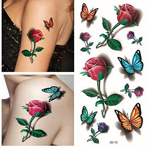 Temporary 3D Butterfly Flower Rose Tattoo Sticker Decal Ladies Body (Hurricanes Temporary Tattoos)