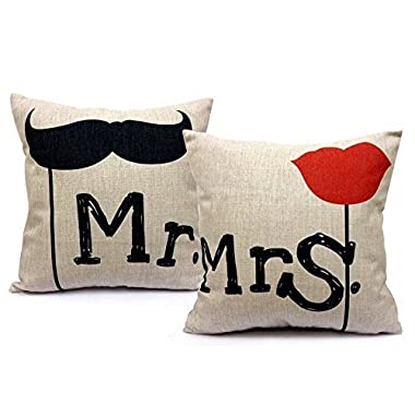 Mr and Mrs 18 X 18 Inch Cotton Linen Home Decorative Throw Pillow Covers Cushion Cover Couple Love Pillow Case, Mr. & Mrs. Pillowcases, Set of 2 (Wedding Gift)