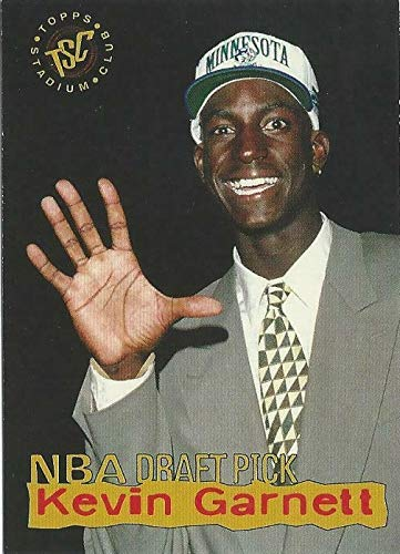 Kevin Draft Garnett - 1995-96 Topps Stadium Club Draft Pick - Kevin Garnett - Minnesota Timberwolves Rookie NBA Basketball Card RC #5