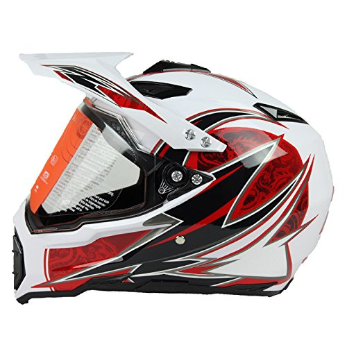 Woljay Dual Sport Off Road Motorcycle Helmet Adventure Touring Dirt Bike ATV & UTV DOT Certified White + Red (L)