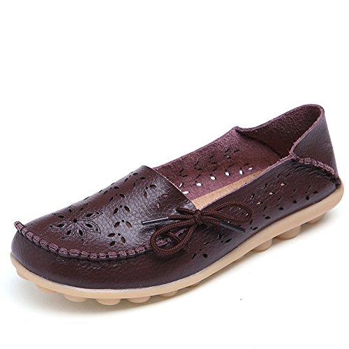 Lucksender Frauen aushöhlen Carving Casual Leder Fahren Flache Loafers Schuhe Kaffee