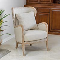 Christopher Knight Home 296543 Crenshaw Fabric Wing Chair, Beige