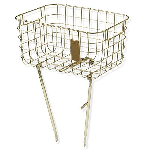 Basil Robin Front Bicycle Basket - Steel Mesh - 27 Litres - Brass Gold