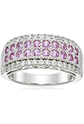 """Sterling Silver Created Pink and White Sapphire """"Mom"""" Gallery Ring, Size 7"""