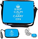Rikki Knight Keep Calm and Carry On Sky Blue Design COMBO Multifunction Messenger Laptop Bag - with padded insert for School or Work - includes Wristlet & Mirror