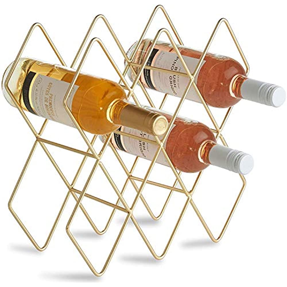 Metal Wine Rack Free Standing Tabletop Gold Rack Countertop Bottle