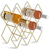 DCIGNA Gold Wine Rack Countertop, Freestanding Bottle Holder, Tabletop Wine Rack 7 Bottles - Metal Brushed Gold and Geometric Design for Cabinet Home Décor