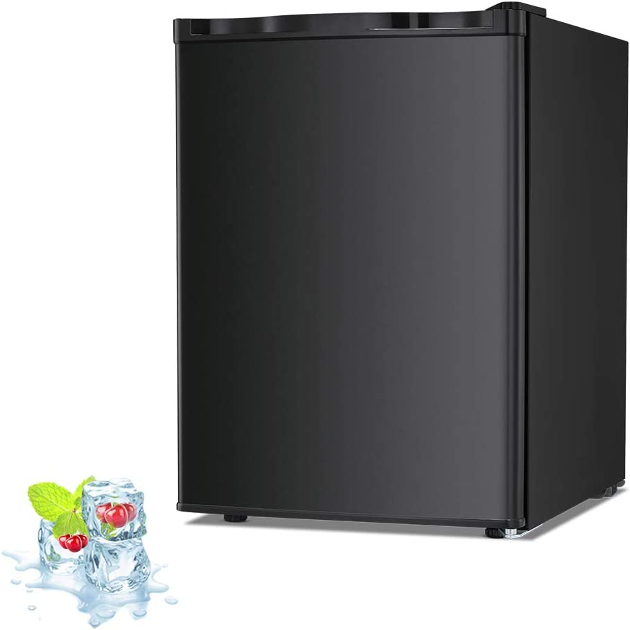 Kismile 2.1 Cu.ft Upright Freezer with Compact Reversible Single Door,Removable Shelves Free Standing Mini Freezer with Adjustable Thermostat for Home/Kitchen/Office (Black, 2.1 cu.ft)