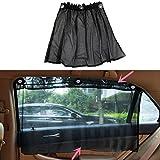 Yosoo 2Pcs Car Sun Shade Side Window Blinds Curtain Sunshade UV Protection Mesh Fabric Black With Suction Cup