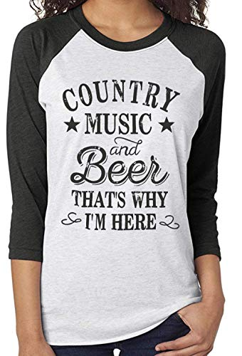 Beer Funny White T-shirt - LANMERTREE Women Funny Letter T Shirt Baseball Color Block Splicing Casual Tee Tops Blouse (M, White)