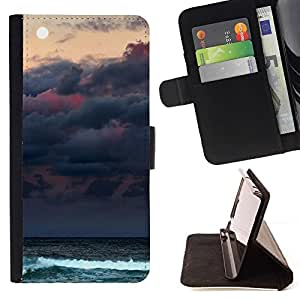 Momo Phone Case / Flip Funda de Cuero Case Cover - Nubes Mar Ocean Waves Luna - MOTOROLA MOTO X PLAY XT1562