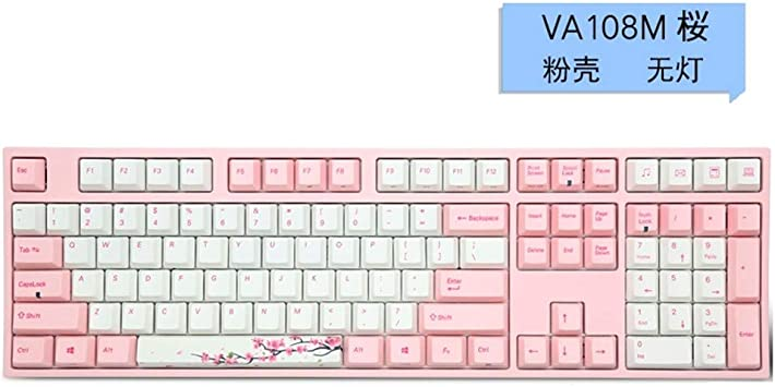 LCRGMPC Cherry Blossom Pink Girl Teclado mecánico Mute Juego ...