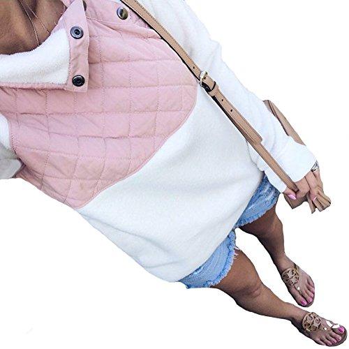 PRETTYGARDEN Womens Warm Long Sleeves Oblique Button Neck Splice Geometric Pattern Fleece Pullover Coat Sweatshirts Outwear