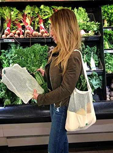 Earth Friendly Reusable Shopping Bags   8 PC Set   Machine Washable   100% Organic Cotton Grocery Bags Includes Sturdy Canvas Tote, 2 Shoulder Bags, 3 Mesh Produce Bags, 2 Bulk Bags