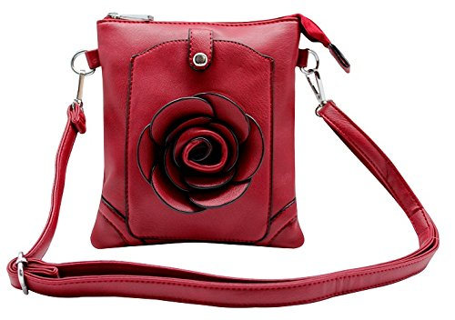 (Floral Rosette Messenger Bag for iPad mini & iPhone 6+ Holder - WINE)