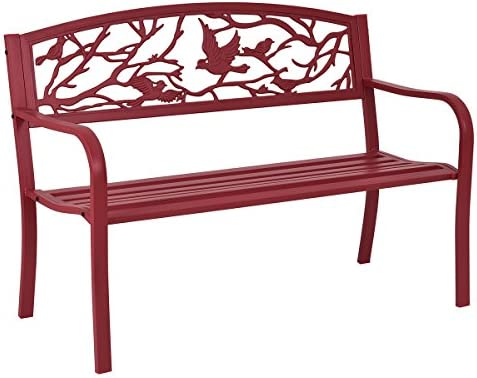 Giantex Patio Garden Bench Park Yard Outdoor Furniture Cast Iron Porch Chair Red