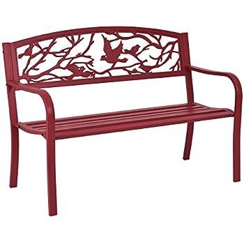 giantex patio garden bench park yard outdoor furniture cast iron porch chair red