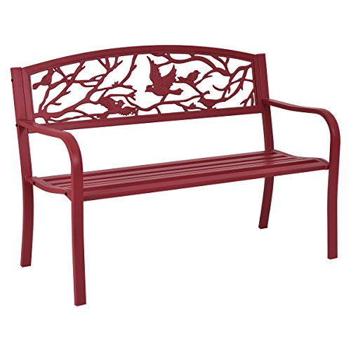 (Giantex Patio Garden Bench Park Yard Outdoor Furniture Cast Iron Porch Chair (Red) )