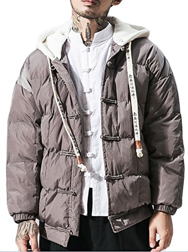 today-UK Mens Outdoor Full Zip Hoodies Quilted Loose Down Jackets Coat Grey